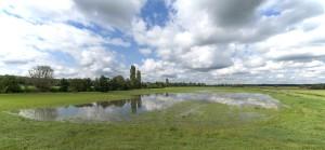 Überlutung der Wiesenflächen in der wechselfeuchten Überflutungsfläche auf NABU Grund