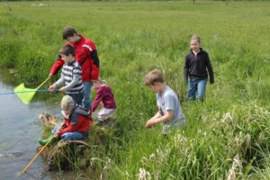 NAJU Kinder bei der Gewässeruntersuchung